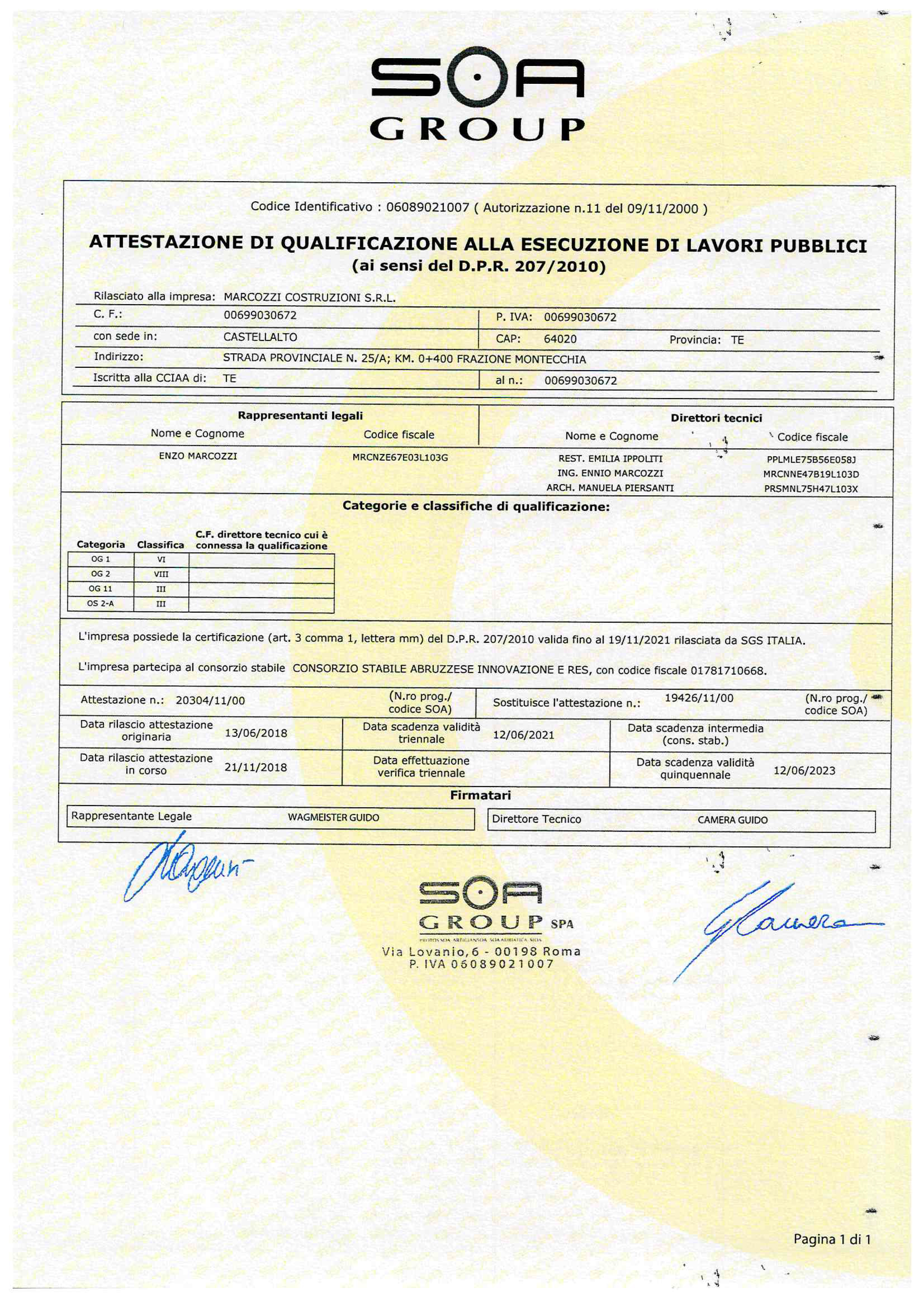 Certificato SOA GROUP-1 full